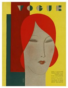 Vogue magazine cover August 1929 by Eduardo Garcia Benito. Print available at Condé Nast http://www.condenaststore.com/-sp/Vogue-Cover-August-1929-Prints_i8483183_.htm