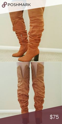"""Rutched Scrunch Tall Boots @blushonme at Poshmark   Rutched, scrunch tall boots - Camel  True to size   Heel - 3.5""""  ● PRICE IS FIRM ●  Note: My 10 y.o loves to help me model, see second picture :) Shoes Over the Knee Boots"""