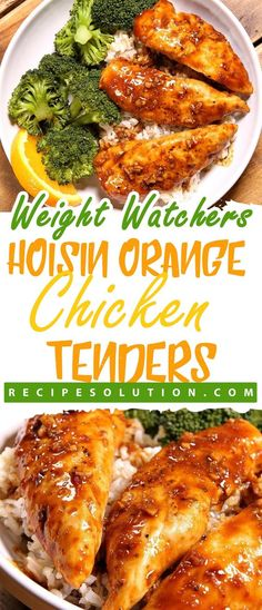 INGREDIENTS: 1 pounds chicken tenders, sprinkled with salt and pepper 1 tablespoon canola oil 2 medium cloves garlic, chopped finely or minced zest from 1 medium orange cup freshly squeezed orange juice cup hoisin sauce 1 tablespoon. Ww Recipes, Easy Dinner Recipes, Easy Meals, Cooking Recipes, Healthy Recipes, Dinner Ideas, Healthy Breakfasts, Healthy Dishes, Healthy Options