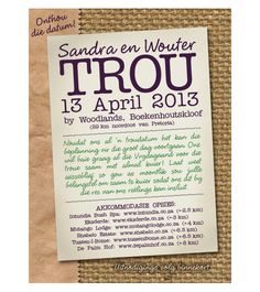 Afrikaans Wording for Wedding Invitations Afrikaans Weddings and