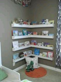 Kids bookshelf made of gutters