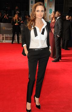 this is how you work a suit as a woman angelina jolie in saint laurent baftas