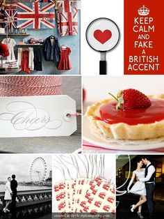 """Oh how I adore British things.... And of course the bright red and blue combo is great. My favorite thing here is the """"Keep Calm and Fake a British Accent"""" sign though! haha!"""