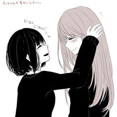 """Ebato Sanae"" ""Yasuraoka Hanabi"" ""Kuzu no Honkai Anime Girlxgirl, Kawaii Anime, Manga Yuri, Yuri Anime, Vocaloid, Kuzu No Honkai Hanabi, Lesbian Art, Manga Love, Cute Anime Couples"
