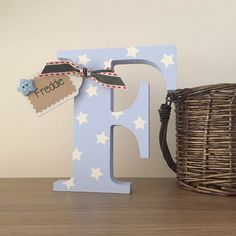Personalised Wooden Letter /Free Standing Wooden/ Nursery Decor/Christening/New Baby Mdf Letters, Alphabet Letters Design, Fancy Letters, Free Standing Letters, Baby Door, Mdf Frame, Letter A Crafts, Daddy Gifts, Crafts To Make And Sell