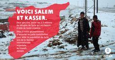 Salem et Kasser, 2 enfants syriens, ont quitté leur pays pour se réfugier en Jordanie. Les réfugiés vivent dans des conditions difficiles, l'hiver étant particulièrement rude. Mercredi 15 janvier, des représentants de gouvernements se réunissent au Koweït pour répondre à l'appel humanitaire des Nations unies pour la Syrie, dont seuls 3% des 6,5 milliards $ sont financés à ce jour. Dites à votre gouvernement d'apporter sa juste contribution, via Twitter @Oxfam_fr #SyriaCrisis #Aid4Syria