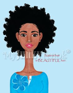 BeautifulAfrican American Natural Hair  Afro Print by MyJunkyTrunk, $18.00
