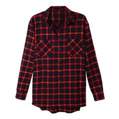 LE3NO Womens Oversized Plaid Long Sleeve Flannel Boyfriend Shirt ($32) ❤ liked on Polyvore featuring tops, shirts, flannel shirt, oversized shirt, long sleeve plaid shirts, red long sleeve shirt and boyfriend flannel shirt