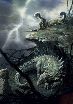 #Polacanthus and #Hypsilophodon by ~IRIRIV on deviantART #paleoart