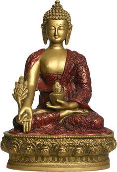 Medicine Buddha Statue, Gold and Red, Gautama Buddha, Buddha Zen, Buddha Life, Tibetan Buddhism, Buddhist Art, Buddhist Temple, Outdoor Garden Statues, Buddhist Philosophy, Buddha Painting