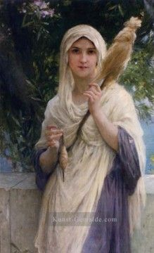 Charles Amable Lenoir Gemälde - The Spinner By The Sea realistische Porträts Mädchen Charles Amable Lenoir