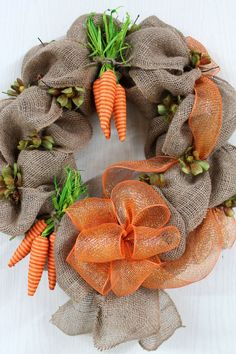 Primitive Easter Front Door Wreath Burlap by FloralsFromHome, $93.00