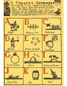 A pirate's alphabet A to L.  #pirates