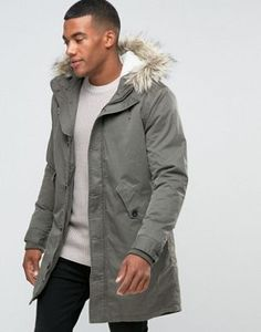 River Island Parka With Faux Fur Borg Lined Hood In Khaki