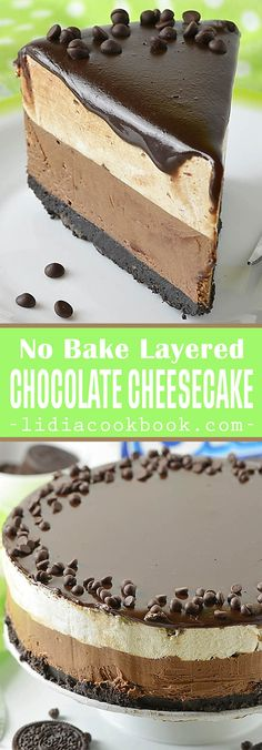 No Bake Layered Chocolate Cheesecake Decadent and delicious with Oreo crust a deliciously creamy chocolate cheesecake layer a cheesecake layer and chocolate topping! Chocolate Topping, Chocolate Cheesecake, Chocolate Desserts, No Bake Desserts, Delicious Desserts, Dessert Recipes, Uk Recipes, Health Desserts, Dessert Ideas