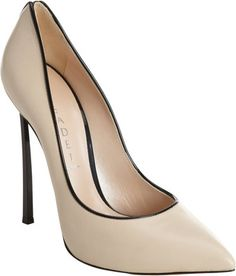 Casadei Contrast Piped Pump - nude bone beige pumps with black trim heels