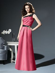 DESSY COLLECTION STYLE 2812 $210.00 Full length matte satin one shoulder gown with bow detail at shoulder and contrasting or matching trim at neckline and natural waist. Pockets at skirt side seams. Also available cocktail length as style 2807. Sizes available 00-30W, and 00-30W extra length. http://www.modelbride.com/Dessy-Collection-Style-281220130528203204-Prodview.html