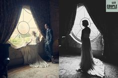 Beautiful epic photos of the bride & groom at the circular window. The light flooding in and creating a lot of drama.  Weddings at The Village at Lyons, Ireland. Photographed by Couple Photography.