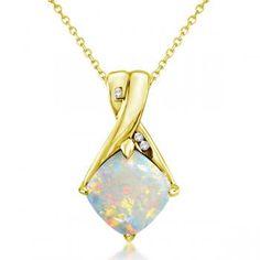 Diamond and Cushion Opal Pendant Necklace 14k Yellow Gold (1.36ct)-Allurez.com