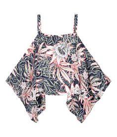 Open-shoulder Top | Dark blue/floral | Ladies | H&M US