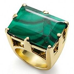 Tony Duquette for Coach collection. A Malachite cocktail ring set in gold-plated silver. Tony Duquette was fascinated by this stone. Malachite is a green crystal most often found in stalagmites Jewelry Box, Jewelery, Jewelry Accessories, Fine Jewelry, Jewelry Design, Chunky Jewelry, Malachite Jewelry, Diamond Are A Girls Best Friend, Cocktail Rings