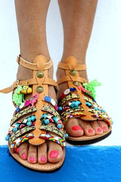 Sandales Spartiates Eau salée la main sur par ElinaLinardaki