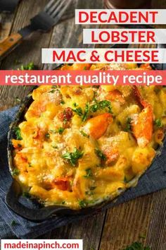 This Lobster Mac and Cheese recipe features pasta in a creamy decadent sauce made with four cheeses and tender chunks of sweet lobster baked together to gooey perfection. #lobster #macncheese #lobstermacandcheese #macaroni #cheese   Made in A Pinch @madeinapinch