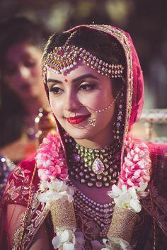 Broad Matha patti on Indian bride , jaimala ,