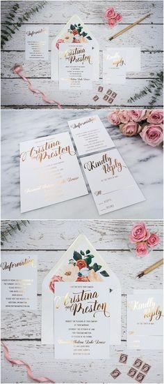 Custom Foil Wedding Invitation Suite - CRISTINA & PRESTON   Personalized Foil Invitation   Foil RSVP, Foil Reception, Foil Information Card #weddings #invitations #weddingideas #weddinginvitation