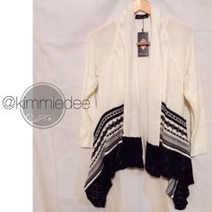 ⬇️SALE⬇️Boho Aztec tribal open cardigan sweater Beautiful lightweight open Aztec tribal pattern cardigan.  Grey & black design.  Super soft 55% Ramie, 45% cotton.  Tags attached.  Several sizes available, this listing is for a size S.  Create a bundle for BOGO 50% off!❤️ Thanks for looking✌️❌NO PAYPAL❌NO TRADES❌ Boutique Sweaters Cardigans