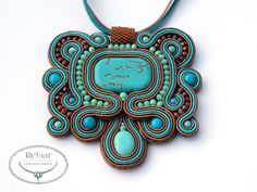 Pendant made with the soutache embroidery technique. Handmade soutache pendant with turquoise howlite, toho & fire polish. Pendant is suspended on a leather thong. Pendant size: ca. 7,5x 7 cm (3x2,7 in) Measures around ca. ca. 48 cm (19 in)