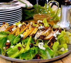 Grilled Chicken Pear Gorgonzola Candied Pecan Salad with Pear Gorgonzola Dressing for National Pistachio Day February 26th
