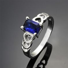 Silver Plated Heart Ring  With Blue Cubic Zircon Stone Various Size
