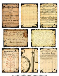 "Digital Collage Sheet, ATC 2.5"" x 3.5"" Vintage Antique Ephemera No. 2...Steampunk, Ledger Paper, Fair Ad, Postage altered art supplies. $3.50, via Etsy."