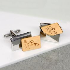 Hand drawn personalised envelope cufflinks