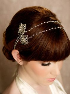 Pearl Crystal Chain Wrap Headband Pearl Halo by GildedShadows, $72.00