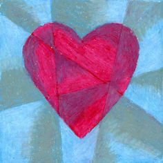 Cubist Heart. Use a ruler and soft oil pastels to make this tinted and shaded heart. #valentine