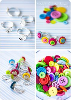 Button rings. Cuuuuuute & colorful!!   stitch layered buttons then super glue the bottom button to the the ring setting. Kids will love to wear & love to make!