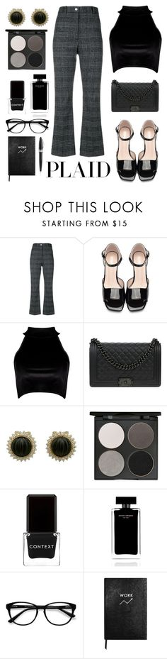 """Plaid"" by yuree ❤ liked on Polyvore featuring Wood Wood, Boohoo, Chanel, Gorgeous Cosmetics, Context, Narciso Rodriguez, EyeBuyDirect.com, Sloane Stationery and Pineider"