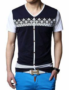 SSLR Men's V Neck Color Blocking Short Sleeve T Shirt (Small, Blue) SSLR,http://www.amazon.com/dp/B00JFQR0U8/ref=cm_sw_r_pi_dp_8FjGtb0KZ96FB35Z