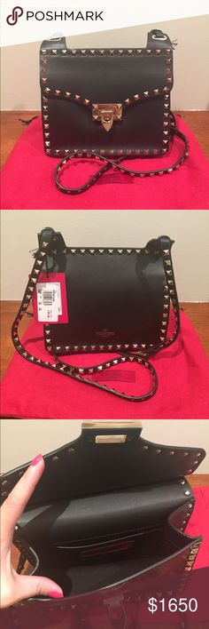 Auth & NWT Valentino Rockstud crossbody Auth & NWT Valentino Rockstud crossbody.  Black leather with gold studs.  Retail $1890 + tax.  Comes with original dust bag.  New with tag, no lowball offers please.  Lower price on Mercari. Valentino Bags Crossbody Bags