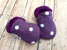 Purple & White Polka Dot Baby Toddler Moccasin by WithinThePines