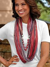Accessorizing just doesn't get any easier – enjoy the look of a scarf and necklace in one stylish piece ~ Jeweled Infinity Scarf from Blair Scarf Necklace, Fabric Necklace, Scarf Jewelry, Fabric Jewelry, Sewing Scarves, Unique Clothes For Women, Diy Scarf, Making Hair Bows, Fabric Beads
