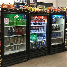 Mountain Dew, Coca-Cola, and Pepsi each sponsor a separate unit in this Soft-Drink Grab-And-Go Cooler Trifecta merchandising. Retail Fixtures, Store Fixtures, Pepsi, Coca Cola, Go Store, Fruit Shoot, Mountain Dew, Cute Food, Goodies