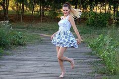 Dziewczyna, Sukienka, Bounce, Natura