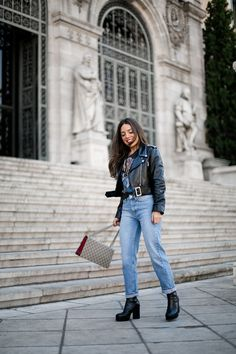 Like a Rolling Stone. Black band t-shirt+boyfriend jeans+black ankle boots +black leather jacket+beige and red Gucci Dionysus chain shoulder bag. Fall Outfit 2016