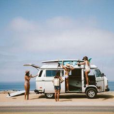Surf lifestyle // surf mobile // beach truck // surfboards // beach life // road trip // surf shack // camper van // vw bus