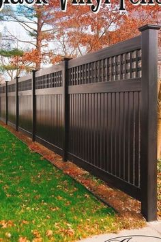 New Fence Ideas Black PVC Vinyl Semi-Privacy Fence From Illusions Vinyl Fence Adds Amazing Character to Your Landscaping landscapingideas # Patio Fence, Front Yard Fence, Diy Fence, Backyard Fences, Backyard Landscaping, Fence Ideas, Yard Fencing, Modern Landscaping, Privacy Fence Designs