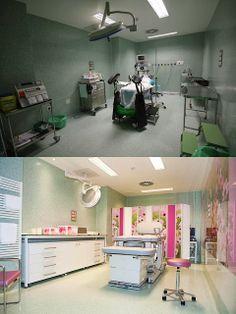 Acondicionamiento de uno de los paritorios del Hospital Nuevo Belén de Madrid, por Arquiectura de Maternidades.