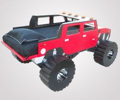 Hummer Twin Bed Fantasy Bed by KidsCreationsBeds on Etsy, Weird Furniture, Car Part Furniture, Kids Furniture, Monster Truck Bed, Diy Toddler Bed, Truck Room, Flying With A Baby, Dreams Beds, Hummer H2
